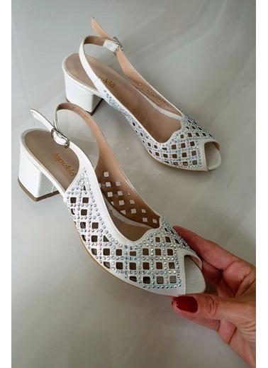 Topukla Hakiki Deri Ayakkabı Beyaz